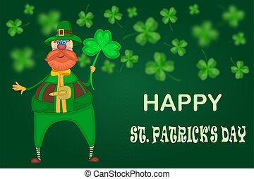 Leprechaun and clover on green background.