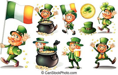 Leprechaun and gold in pot illustration