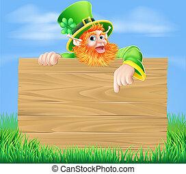 Leprechaun and Wooden Sign in Sprin - Lleprechaun cartoon...