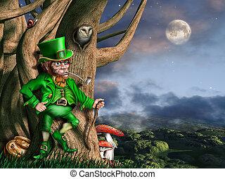 Leprechaun at night - Illustration of a leprechaun with his...