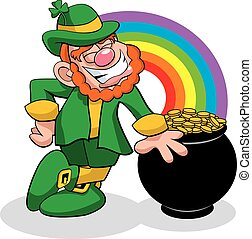Leprechaun at the end of a Rainbow - A vector illustration...