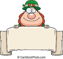 Leprechaun Banner - A cartoon leprechaun with a paper...