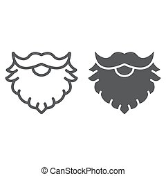 Leprechaun beard line and glyph icon, st patrick s day and holiday, santa beard sign, vector graphics, a linear pattern on a white background, eps 10.