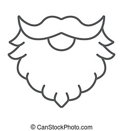 Leprechaun beard thin line icon, st patrick's day and holiday, santa beard sign, vector graphics, a linear pattern on a white background, eps 10.
