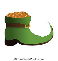 leprechaun boots with gold coins icon