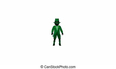Leprechaun Boy Walking - Leprechaun boy walking on a white...