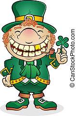 leprechaun, carácter, caricatura