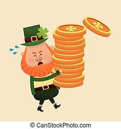 leprechaun carrying pile coins gold vector illustration eps...