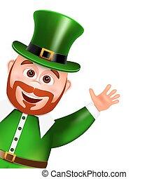 Leprechaun cartoon character peeking. Saint Patricks Day Card.