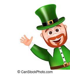 Leprechaun cartoon character peeking. Saint Patricks Day Card. V