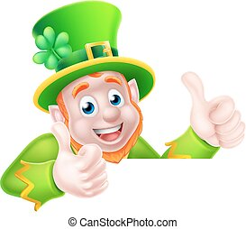 Leprechaun Cartoon - Leprechaun cartoon character peeking...