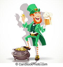 leprechaun, cerveja, bebendo, cute