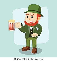 leprechaun, cerveja, segurando