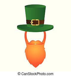 b284d08bb946a Vector illustration design · leprechaun character face with red beard and green  hat
