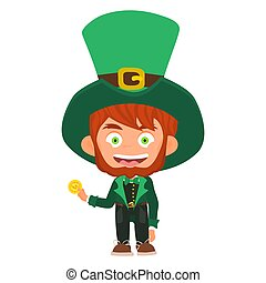 leprechaun character with gold coin wearing green