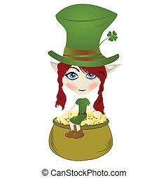 Leprechaun - Happy little Leprechaun enjoying pot of gold