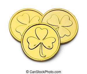 leprechaun, coins, oro, trébol