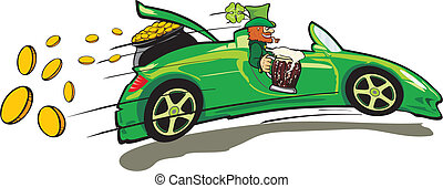 leprechaun, convertible and a treas