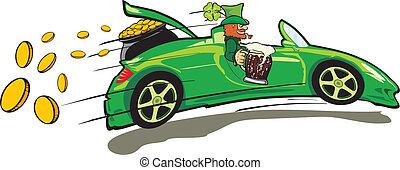 leprechaun, convertible and a treas - st patrick `s day - ...