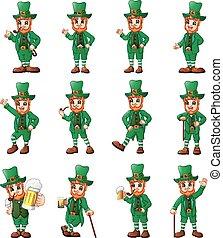leprechaun, diferente, jogo, poses, caricatura