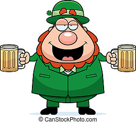 A happy cartoon leprechaun with two beers looking drunk.
