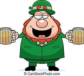 Leprechaun Drunk - A happy cartoon leprechaun with two beers...