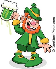Leprechaun Drunk - A vector illustration of a leprechaun,...