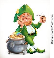 leprechaun, e, panela ouro, moedas., festa, de, são, patrick, 3d, vetorial, ícone