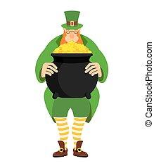 leprechaun, e, pote, de, gold., anão, em, verde, roupas, e, caldeira, de, dourado, moedas., st.patrick, s, day., feriado nacional, em, irlanda