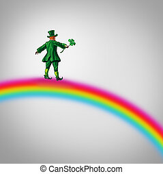Leprechaun Fortune Rainbow as a small character in a green traditional saint patricks day costume holding a four leaf clover walking on a magical streak of color towards a lucky reward.