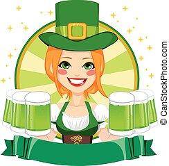Leprechaun Girl Waitress Banner