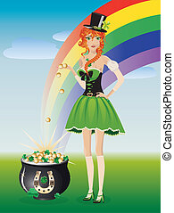 Leprechaun girl with pot of gold