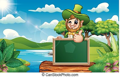 Leprechaun giving thumbs up with chalkboard sign