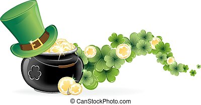Leprechaun hat and pot of gold - Leprechaun hat and pot with...
