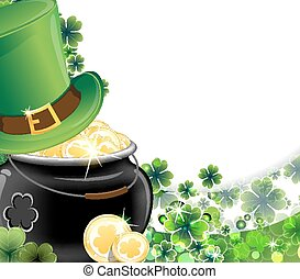Leprechaun hat and pot with gold co