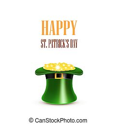 Leprechaun hat filled with gold. Saint Patricks Day Card. Vector