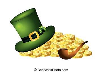 leprechaun hat gold coins