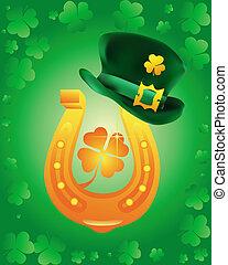 leprechaun hat wearing a gold horseshoe on a green background