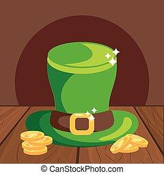 leprechaun hat with coins