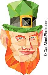 Leprechaun Head Low Polygon - Low polygon style illustration...