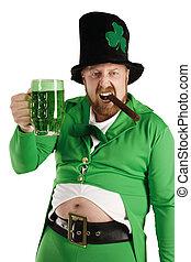 Leprechaun hoisting a green beer - An image of a Leprechaun...