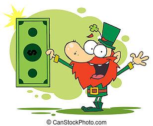 Leprechaun Holding A Dollar Bill