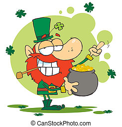 Leprechaun Holding A Pot Of Gold And Flipping His Middle...