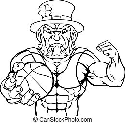 Leprechaun Holding Basketball Ball Sports Mascot