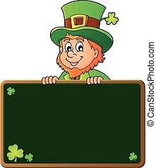 Leprechaun holding greenboard 1
