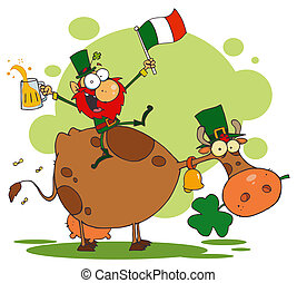 Leprechaun Holding Up A Flag And Beer And Sitting On A Cow