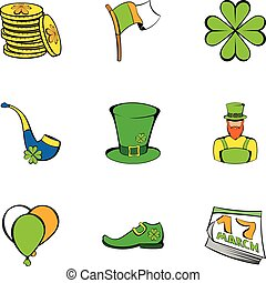 Leprechaun icons set, cartoon style