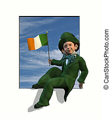 Leprechaun in Window with Flag