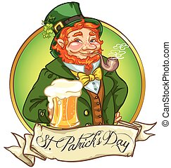 Leprechaun, Irish man with beer, St. Patrick's Day label...