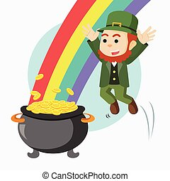leprechaun jump to pot of gold and rainbow